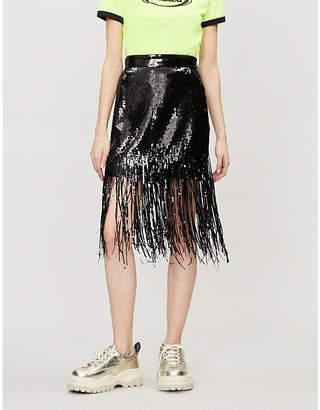 MSGM Fringed sequinned skirt