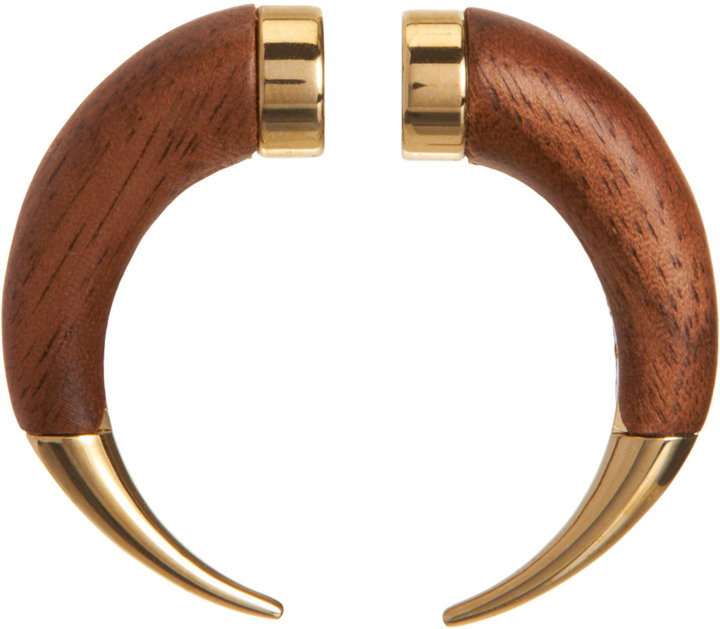 Givenchy Wood Small Double Shark Tooth Earring