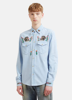 Gucci Embroidered Denim Shirt in Blue