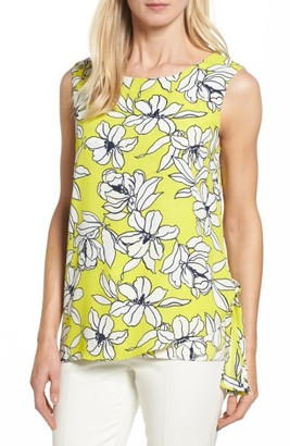 Women's Chaus Print Mixed Media Side Tie Top $64 thestylecure.com