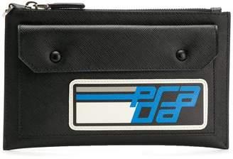 Prada logo top zip wallet