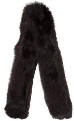 Velvet-Trimmed Fur Scarf