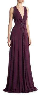 Talbot Runhof Embellished Jersey Gown