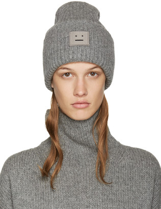 Acne Studios Grey Wool Pansy Beanie $120 thestylecure.com