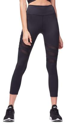 Good American High Waist Mesh Panel Crop Leggings