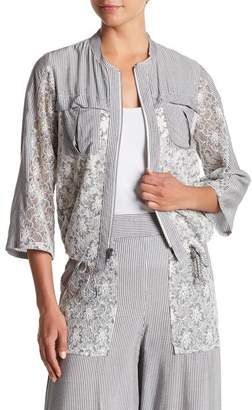 BCBGeneration Lace Trim Bomber Jacket