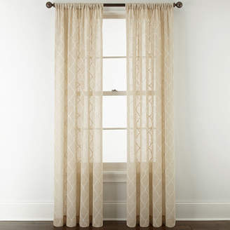 JCPenney JCP HOME HomeTM Piper Rod-Pocket Sheer Curtain Panel