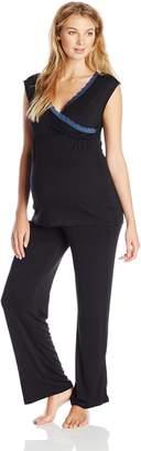 Lamaze Women's Maternity Short Sleeve and Pant Pajama Set