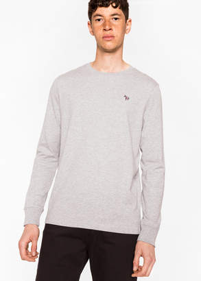 Paul Smith Men's Grey Marl Organic-Cotton Zebra Logo Long-Sleeve T-Shirt
