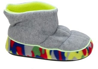 Dearfoams DF by Boys' Quilted Fleece Bootie with Glow Slippers