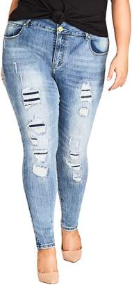 City Chic Asha Patched Ankle Skinny Jeans