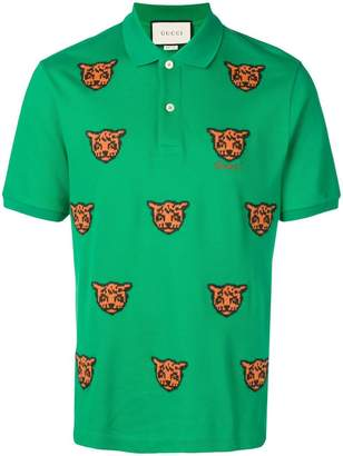 f9da44695 Gucci embroidered tiger polo shirt