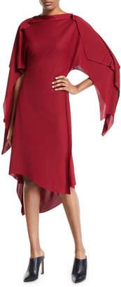 Thierry Mugler Interlocked Cape-Sleeve High-Low Dress