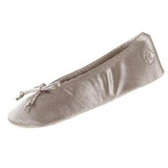 Isotoner Women's Satin Ballerina Slipper with Bow