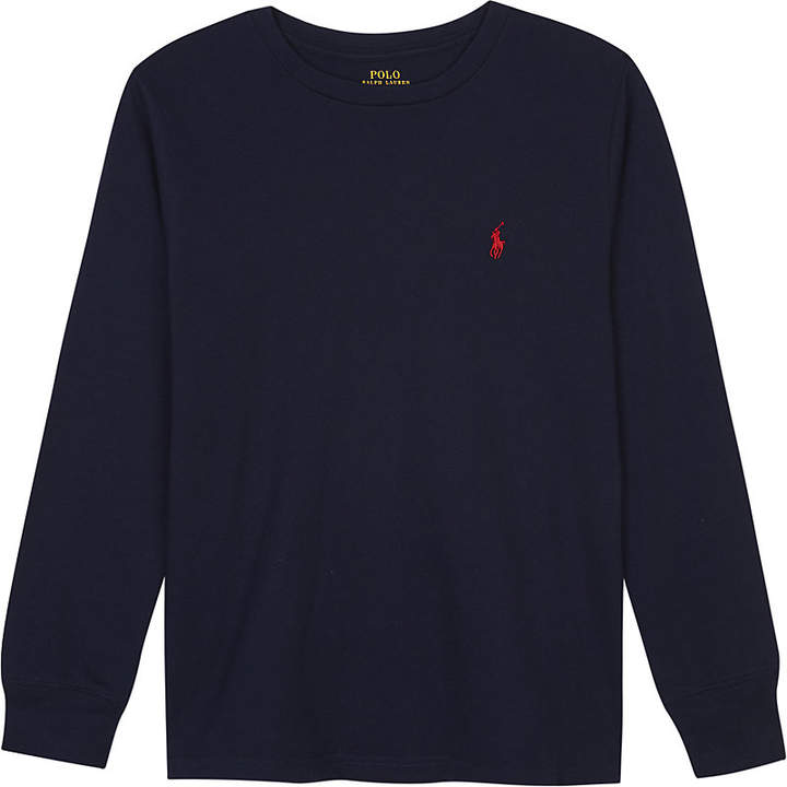 Logo cotton long-sleeved top 6-14 years