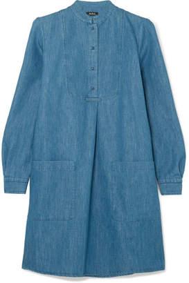 A.P.C. Robe Smoking Denim Mini Dress - Blue