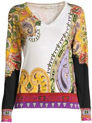 Etro Paisley V-Neck Pullover