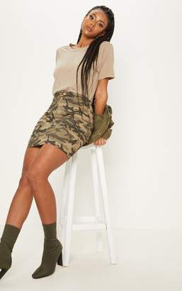 PrettyLittleThing Grey Cargo Camo Mini Skirt