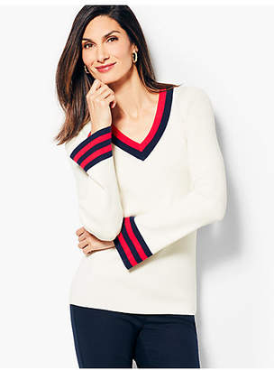 Talbots Tipped V-Neck Sweater