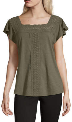 Liz Claiborne Womens Square Neck Short Sleeve T-Shirt