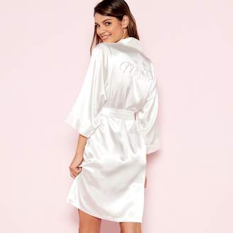 The Collection - Ivory  Mrs W  Satin Dressing Gown a838c9fed