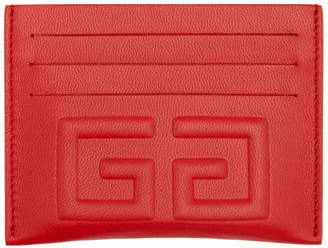 Givenchy Red Debossed 4G Card Holder