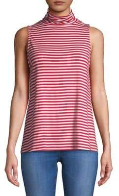 Kensie Striped Sleeveless Turtleneck