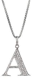 Nina Gilin Women's Silvertone & Natural Champagne Diamond Initial Pendant Necklace