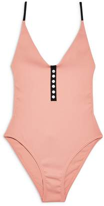 Topshop Pamela Ribbed Button One-Piece Swimsuit