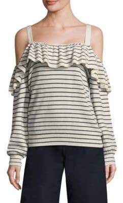 Joie Delbin Striped Cold-Shoulder Sweater