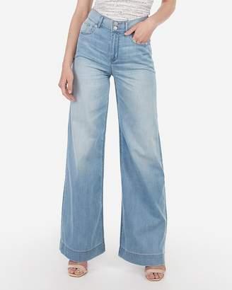 Express High Waisted Lightweight Light Wash Wide Leg Jeans