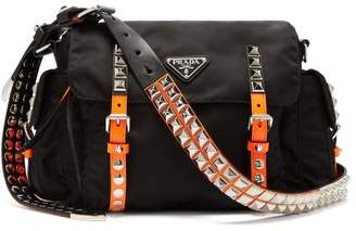 Prada New Vela Studded Nylon Shoulder Bag - Womens - Black Orange