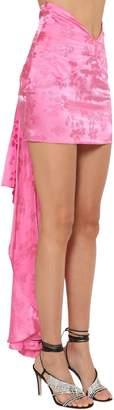 ATTICO V Waist Floral Jacquard Mini Skirt