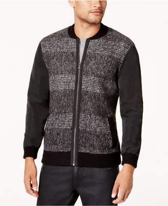 GUESS Men's Mixed Media Sweater-Jacket