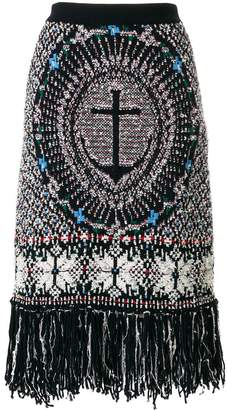 Thom Browne Wool Blend Anchor Embroidery Pencil Skirt