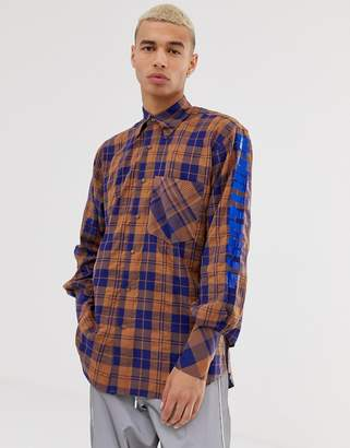 D-Antidote Oversized Check Shirt With Sleeve Print