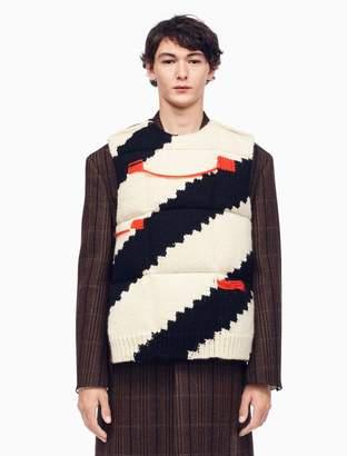 Calvin Klein diagonal stripe intarsia knit down padded vest