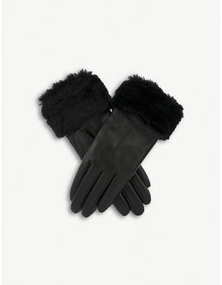 Dents Faux-fur cuff leather gloves