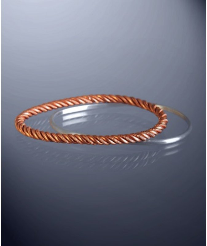 Bing Bang copper and silver 'Twist Egg' bangles