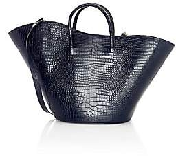 Little Liffner Women's Large Tulip Open Croc-Embossed Leather Tote
