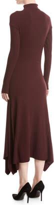 Theory Rib-Knit Panel Handkerchief-Hem Sweater Dress
