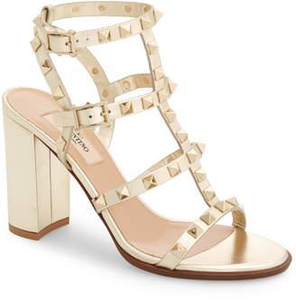 Valentino Rockstud Metallic Block Heel Sandal