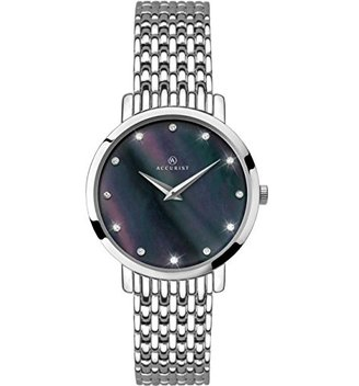 Accurist Ladies Analogue Watch with Black Mother of Pearl Dial andステンレススチールブレスレット8158