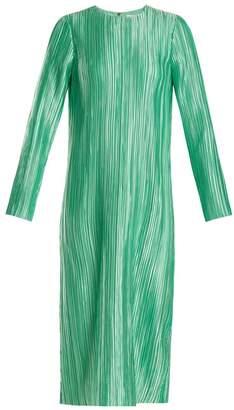 Tibi Plisse Pleated Long Sleeved Midi Dress - Womens - Green