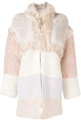 Stella McCartney colour-block shearling coat