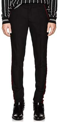 Balmain Men's Velvet-Striped Wool Skinny Trousers - Black