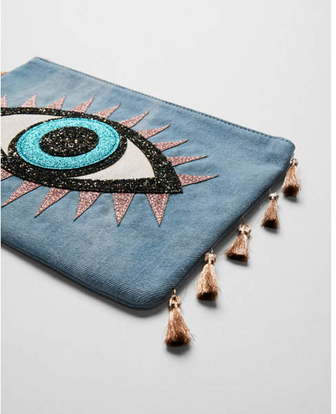 denim evil eye pouch