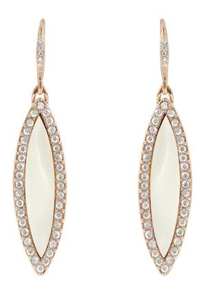Adore Rose Gold Plated Resin Inlay & Swarovski Crystal Accented Marquise Drop Earrings