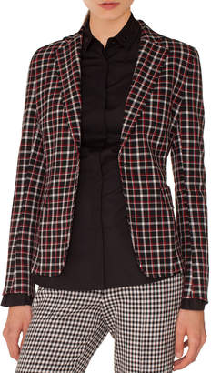 Akris Punto Single-Breasted Notched-Lapel Check Blazer
