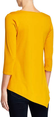 Neiman Marcus Asymmetric Scoop-Neck Blouse